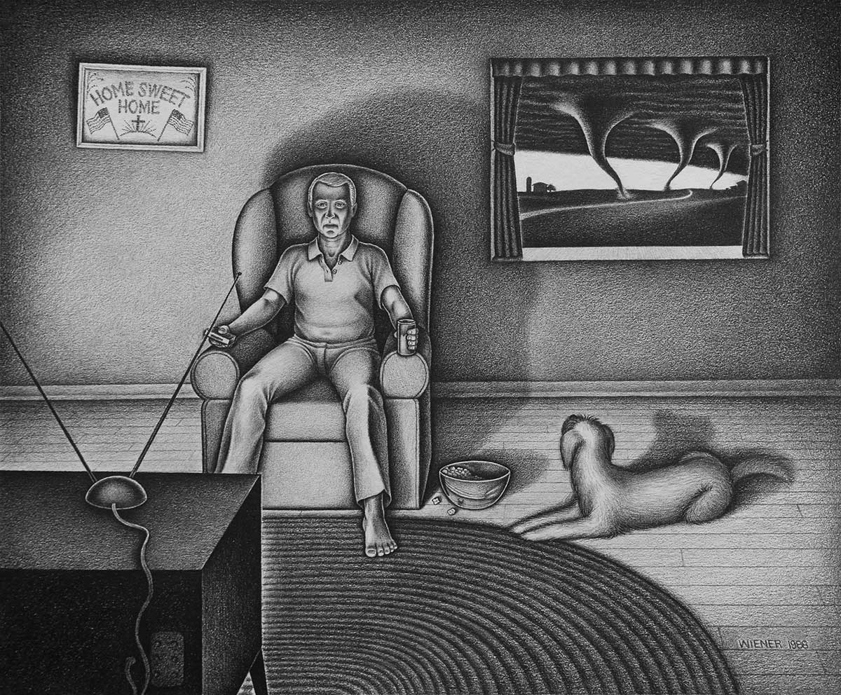 Pencil drawing of man watching TV with his dog, as tornadoes approach his home.