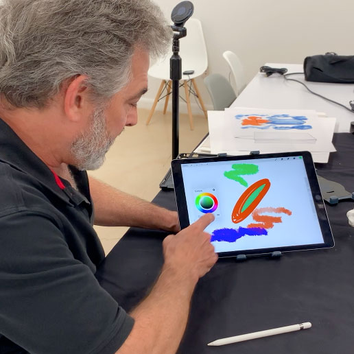 "Jeffrey Wiener teaches digital art on the iPad using the App ""Procreate"""